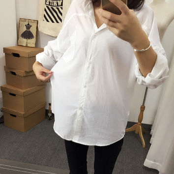 White Long Sleeves Drop Shoulders Shirt Collared Button Down Top