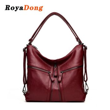 RoyaDong 2017 New Big Women Bags Soft Leather Hobos Female Handbags Fashion Shoulder Bags Ladies High Quality Design Bag