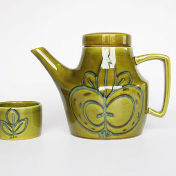 Olive green ceramic teapot and tea cup, 1970 French provincal pottery, green floral French kitchen decor, flower leaf pattern tea set