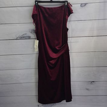 Eliza J Women's Sparkle Velvet Drape Neck Dress Size 14