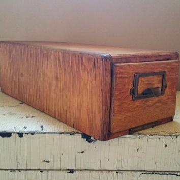 Vintage Wood File Cabinet Solid Oak Yawman and Erbe