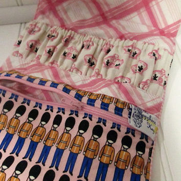 EO / Nail Polish / Cosmetic Travel Pouch -- Pink British Invasion Print