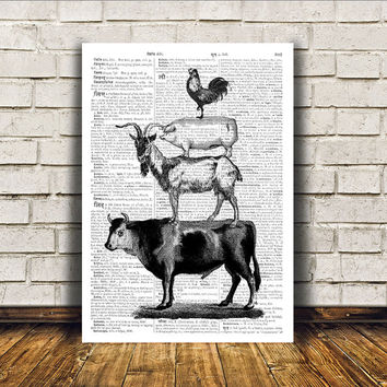 Cattle poster Farm animal art Dictionary print Modern decor RTA12