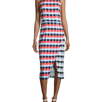 Gidget Macro-Plaid Midi Sheath Dress, Size: