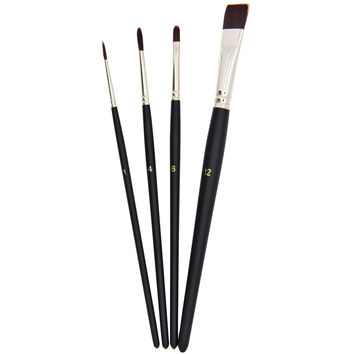 Brown Nylon Short Handle Artist Watercolor Acrylic & Oil Paint Brushes Set