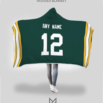 Green Bay Packers Hooded Blanket - Personalized Any Name & Any Number