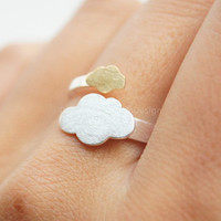 925 Sterling Silver ring,gold plated over silver ring,cute silver clouds ring