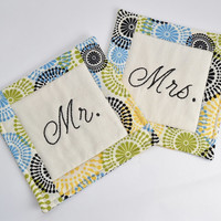 Mr and Mrs Coasters - Mug Rug - Wedding Gift - Engagement Gift - Bridal Shower Gift - Anniversary - Multi-Color Circles - Hand Stitched