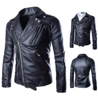 Black Biker Zip Leather Jacket