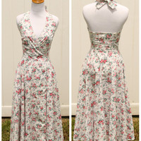 Vintage 80s Laura Ashley Floral Halter Wrap Dress Pin Up Style// Floral Summer Dress// Pinup Dress