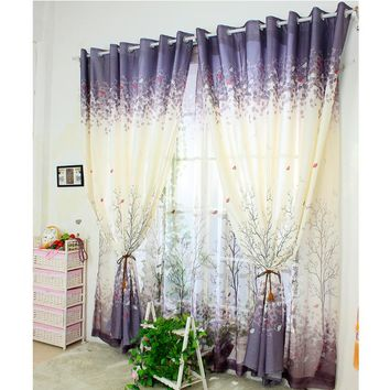 [byetee] Simple Curtain Screens Pastoral Style Bay Window Curtains For Living Room Bedroom Semi Light Shading Cortina Drapes