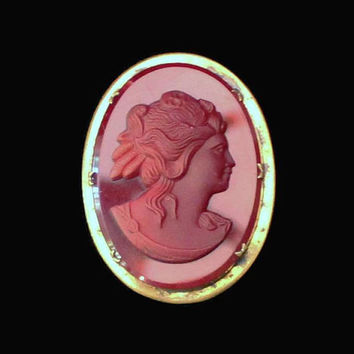 Cameo Brooch Pin, Burgundy Red Glass Set In Brass