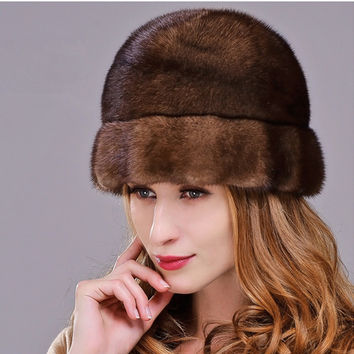 HM022 Real genuine mink  fur hat  winter women's warm caps whole piece mink fur hats
