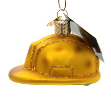 Old World Christmas Construction Helmet Glass Ornament