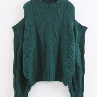 Green Cold Shoulder Cable Long Sleeve Chunky Knit Sweater