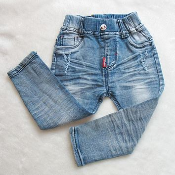 Fashion Elastic Waist Boy Jeans Baby Jean Toddler Elastic Fabric Trouser For Kids