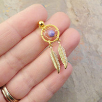 Purple Stone Gold Dream Catcher Tragus Piercing Cartilage Barbell Upper Earring