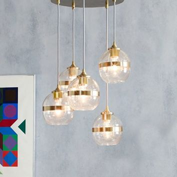 Banded Glass Chandelier - 5-Light