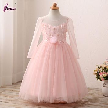 Castle Fairy Flower Girls Long Sleeves Blush Pink Party Wedding Dress ZCF007
