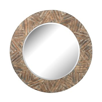 Large Round Wood Mirror Natural Drift Wood