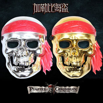 Pirates of the Caribbean Gold Silver Halloween skull mask horror mask dance dress props