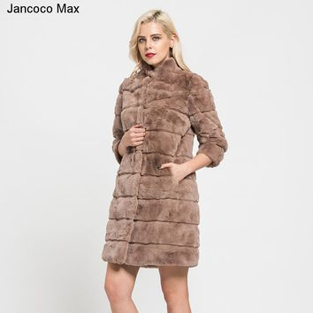 Jancoco Max 2018 New Arrival Real Rex Rabbit Fur Coats Winter Fashion Style Fur Jacket Long Coat For Women Outerwear S7170