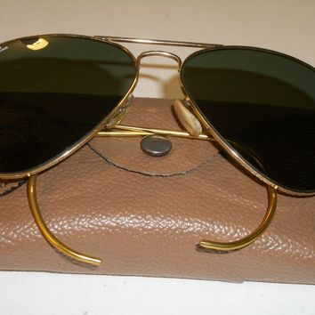 1980's 58 14mm B&L RAY BAN USA MEDIUM G15 GOLD PLATED CABLE AVIATORs SUNGLASSES
