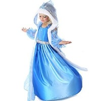 Buy Home Frozen Party Dress Princess Elsa Blue Snow Queen Girls Fur Trim Cape