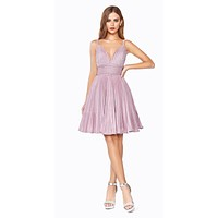A-Line Short Dress Rose Pleated Glitter Fabric Criss Cross Back