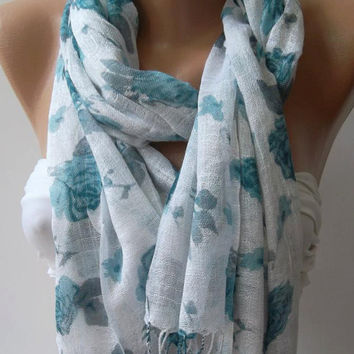 Shawl for Summer /Blue Roses -- Elegance Shawl / Scarf / soft and light---