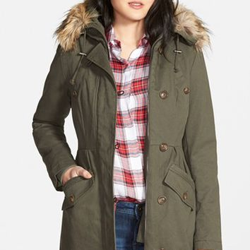 Women's Sam Edelman Twill Pleat Skirt Parka with Faux Fur Trim Hood ,