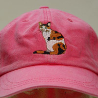 CALICO CAT HAT - One Embroidered Men Women Cap - Price Embroidery Apparel - 24 Color Caps Available