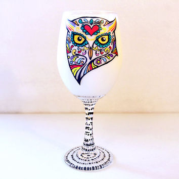 Owl, Wine Glass, Sugar Skulls, Painted Wine Glass, Nature, Animals, Colorful, Gifts for Her, Collectible, Gifts, Birthday, Day of the Dead