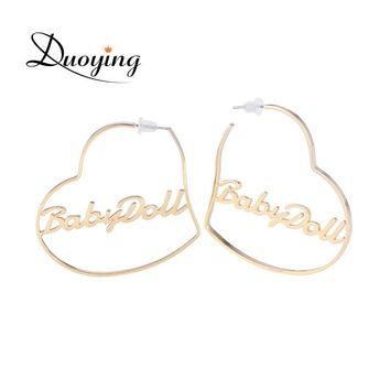 Duoying Heart Hoop Earring Custom Gold Name Personalized Any Words Earrings for Women Boho Jewelry Earrings for Etsy BFF Gifts
