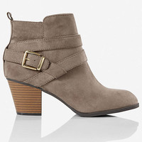 Gray Zip-up Buckle Ankle Boot from EXPRESS
