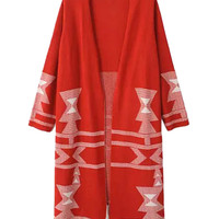 Red Geometric Pattern Tassel Knitted Cardigan