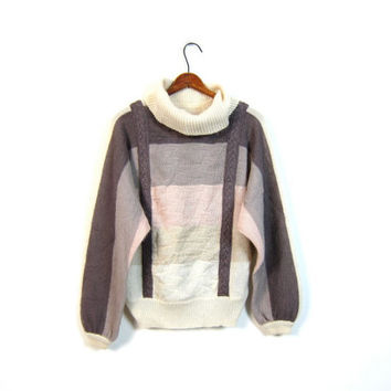 Turtleneck 80s Batwing Sweater Slouchy Striped Ombre Gray White Pink Cable Knit Pullover Color block Minimal Knit Sweater Womens Large