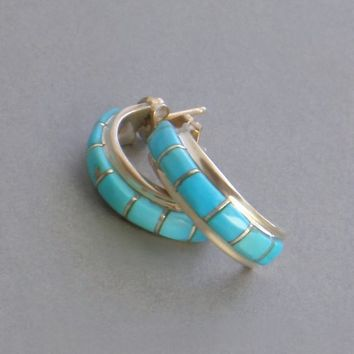 SIGNED Vintage Native American Turquoise Hoop EARRINGS Sleeping Beauty Inlay HOOPS, Post Backs Pierced Ears, Sterling Womens Navajo Jewelry