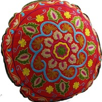 Yoga Meditation Bohemian Red Multi Pouf Floor Boho Pillow