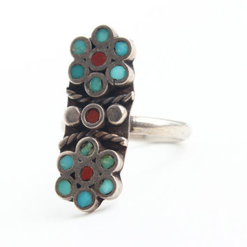 SALE - Vintage Sterling Silver Flower Ring - Size 5 1/2 Statement Turquoise & Coral Retro Native American Jewelry / Double Floral