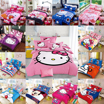 New Bedding Cartoon Hello Kitty Mickey Mouse 4pcs/3pcs quilt Cover Sets Soft Polyester Bed Linen Flat Bed Sheet Set Pillowcase