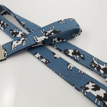 Cow Lanyard Cow Key Fob Cow Gift Set Teacher Lanyard Farm Lanyard Holstein Lanyard Cattle Lanyard Denim Lanyard Cow Keychain Cow Necklace