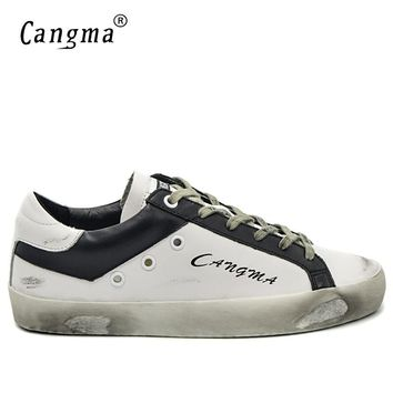 CANGMA Italian Designer Brand Vintage Men's Casual Shoes Fashion Handmade Genuine Leather White Bass Breathable Male Shoes 34-48