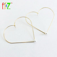 Novel Big Heart Earrings Gold/Silver Faux Pearl Hoop Earring for women Joyas Pendiente