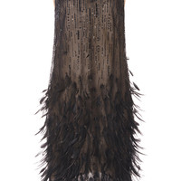 Sleeveless Bateau Neck Feather Dress | Moda Operandi