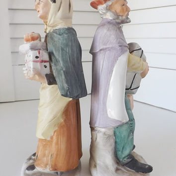 Norleans Japan Figurines Man and Woman with Gifts