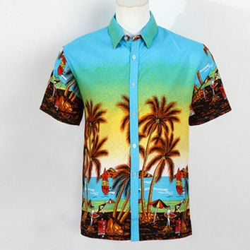 Mens Hawaiian Shirt Short Sleeve Summer Beachwear Clothing Polyester Quick Dry Tropical Printed  Fancy Shirts Camisa Masculina