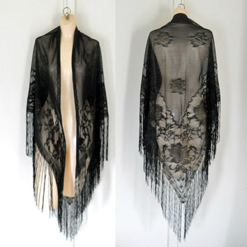 Sheer Black Shawl Boho Chic Clothing Fringe Shawl Shoulder Shawl Long Shawl Dressy Shawl Wrap Shawl Evening Black Shawl Shawl Clothes