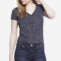 BURNOUT SPLATTER FITTED DEEP V-NECK TEE from EXPRESS