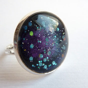 Cosmic Galaxy Ring, Stardust Ring, Adjustable Glitter Ring, Glass Dome Ring, Statement Ring